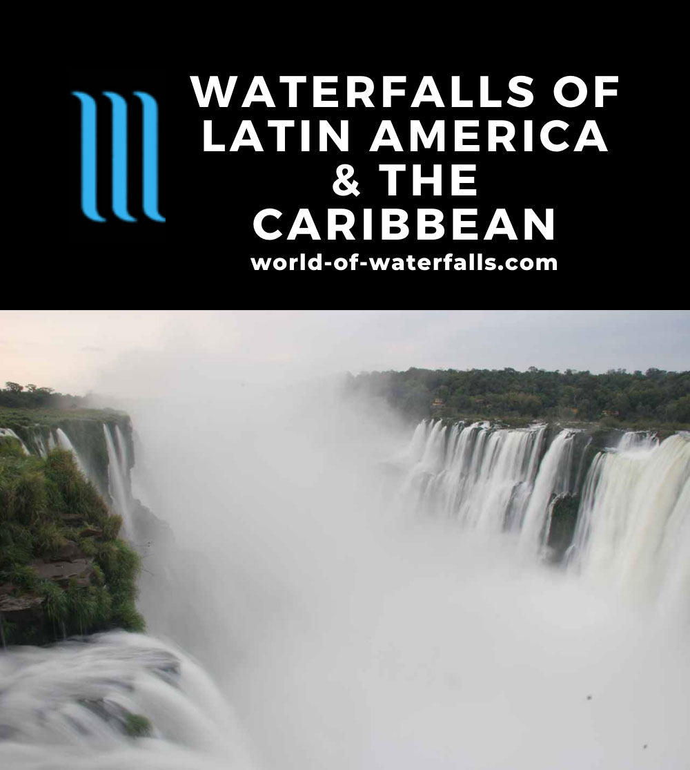 Latin America and Caribbean Waterfalls Map