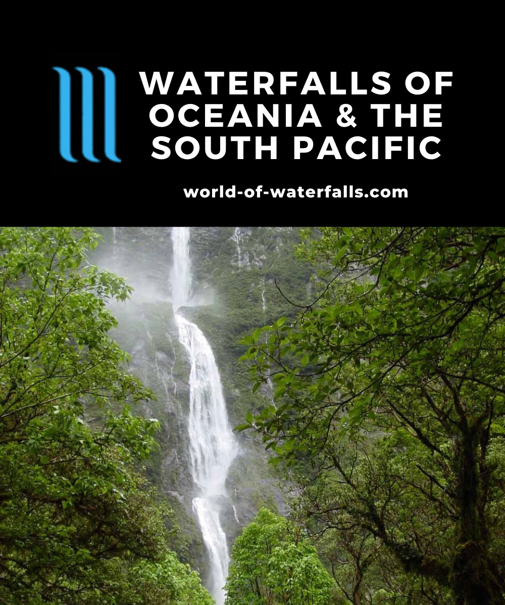 Oceania and the South Pacific Waterfalls Map